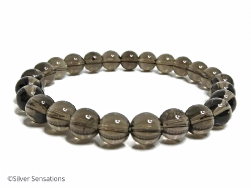Brown Smokey Quartz Beaded Stretch Bracelet